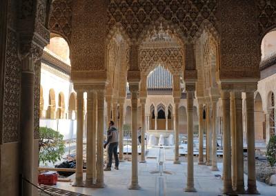 Löwenhof in der Alhambra (Restaurierungsarbeiten)